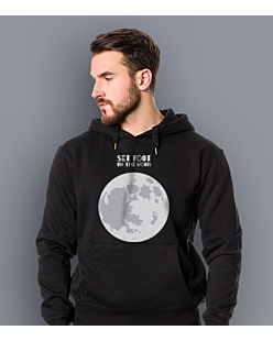 SET FOOT ON THE MOON Męska bluza z kapturem Czarna S