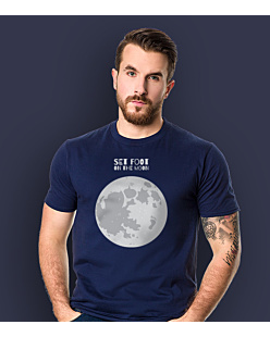 SET FOOT ON THE MOON T-shirt męski Granatowy S