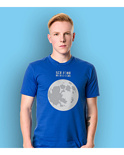 SET FOOT ON THE MOON T-shirt męski Niebieski S