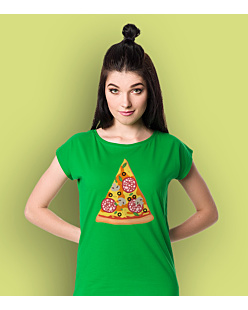 Pizza Salami T-shirt damski Zielony XS