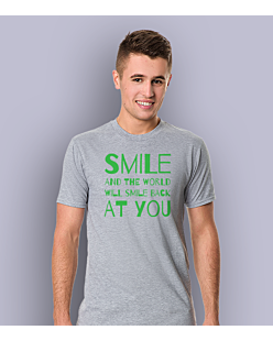 Smile and the world will smile T-shirt męski Jasny melanż S