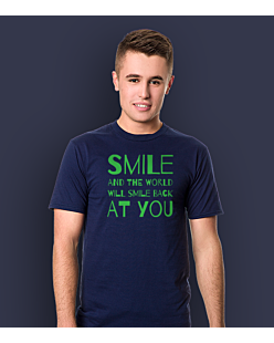 Smile and the world will smile T-shirt męski Granatowy S