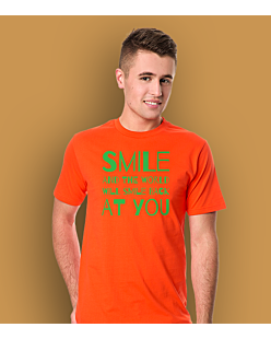 Smile and the world will smile T-shirt męski Pomarańczowy S