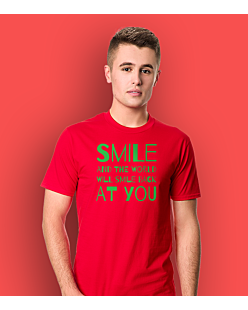Smile and the world will smile T-shirt męski Czerwony S