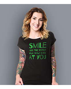 Smile and the world will smile T-shirt damski Czarny XS