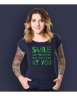Smile and the world will smile T-shirt damski Granatowy XS
