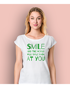 Smile and the world will smile T-shirt damski Biały XS