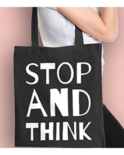 STOP AND THINK Torba na zakupy Czarna Universal