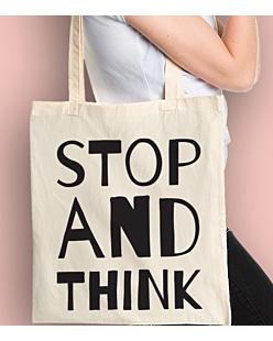 STOP AND THINK Torba na zakupy Naturalna Universal