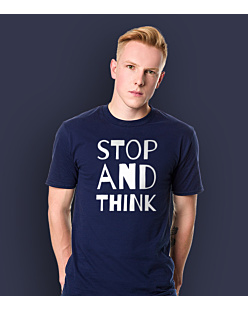 STOP AND THINK T-shirt męski Granatowy S