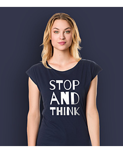 STOP AND THINK T-shirt damski Granatowy XS