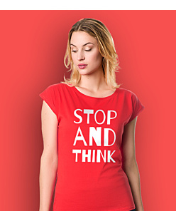 STOP AND THINK T-shirt damski Czerwony XS