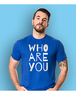 WHO ARE YOU T-shirt męski Niebieski S