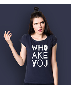 WHO ARE YOU T-shirt damski Granatowy XS