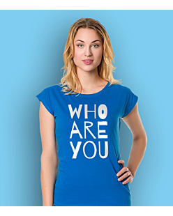 WHO ARE YOU T-shirt damski Niebieski XS