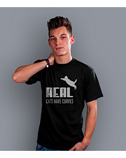 Real Cats Have Curves T-shirt męski Czarny S
