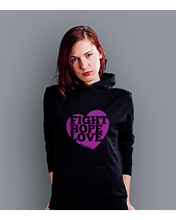 Fight Hope Love Damska bluza z kapturem Czarna S