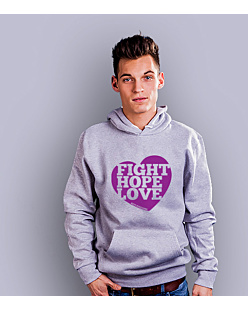 Fight Hope Love Męska bluza z kapturem Jasny melanż XXL