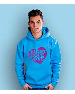 Fight Hope Love Męska bluza z kapturem Turkusowa S