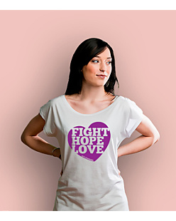 Fight Hope Love T-shirt damski Biały XS
