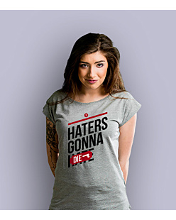 Haters gonna die T-shirt damski Jasny melanż XS