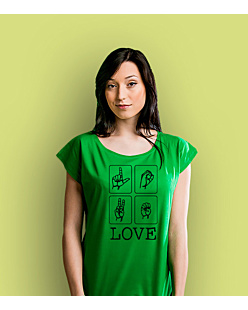 LOVE migi T-shirt damski Zielony XS