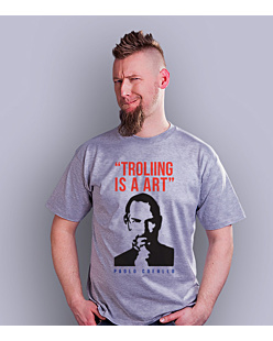 Trolling is a art T-shirt męski Jasny melanż S