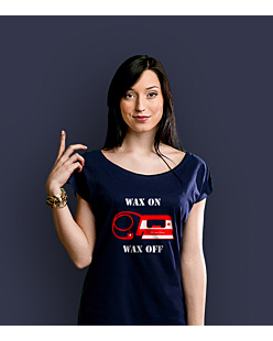 Wax On / Wax Off T-shirt damski Granatowy XXL