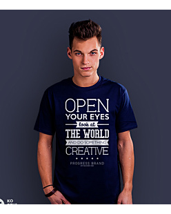 Open Your Eyes T-shirt męski Granatowy S