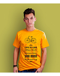Life is like riding bicycle T-shirt męski Żółty XXL