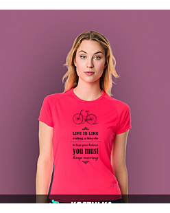 Life is like riding bicycle T-shirt sportowy damski Różowy S