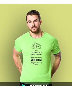 Life is like riding bicycle T-shirt sportowy męski Zielony M