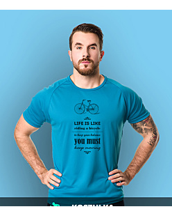 Life is like riding bicycle T-shirt sportowy męski Niebieski XL