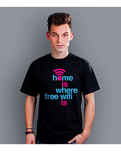 Home is where free WiFi is T-shirt męski Czarny S