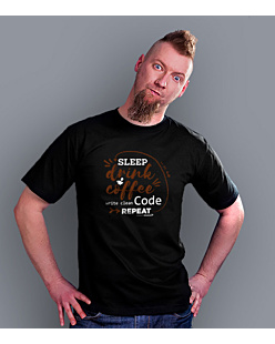 Sleep Drink Coffe Wite Clean Code Repeat T-shirt męski Czarny S