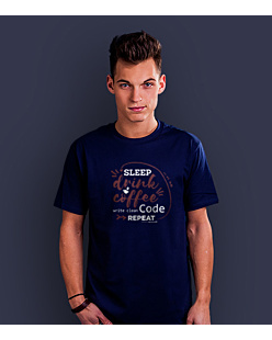 Sleep Drink Coffe Wite Clean Code Repeat T-shirt męski Granatowy XXL