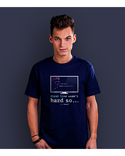 First line wasn't so hard T-shirt męski Granatowy S
