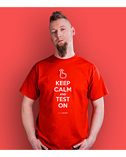 Keep Calm and Test on T-shirt męski Czerwony S