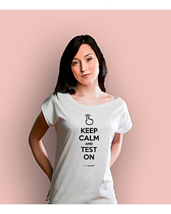 Keep Calm and Test on T-shirt damski Biały XS