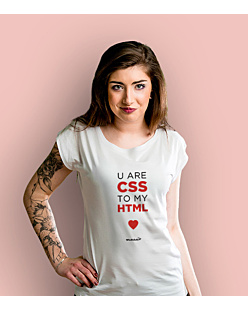 U are CSS to my HTML T-shirt damski Biały XS