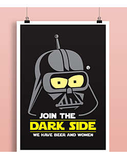 Join the Dark Side Plakat Biały A2