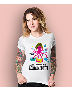 Hello from the mother side T-shirt sportowy damski Biały XS