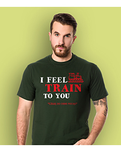 I feel train to You T-shirt męski Ciemnozielony L