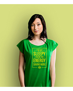 Energy Saving Mode T-shirt damski Zielony XS