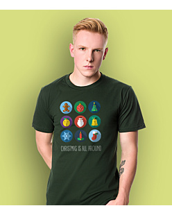 Christmas is all around T-shirt męski Ciemnozielony S