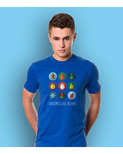 Christmas is all around T-shirt męski Niebieski S