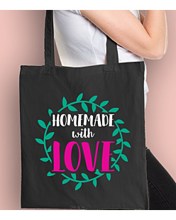 Homemade with love Torba na zakupy Czarna Universal