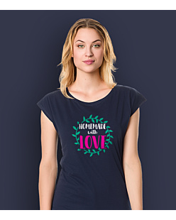 Homemade with love T-shirt damski Granatowy L