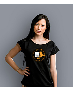 Coffee like a sir T-shirt damski Czarny XS